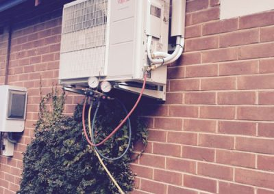 split system air-conditioning showing compressor outside wall mounted in Morphettvale